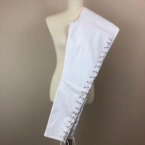 Good American Jeans, White, Lace-Up Legs, Sz 22